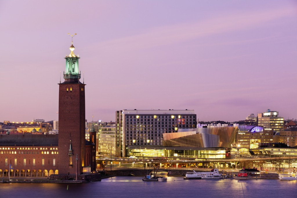 The Stockholm City Hall (left) and the Stockholm Waterfront Congress Center (right).